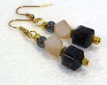 Dark Brown Dangle Earrings with Venezia Crystals: Brown & Cream Earrings, Nickle-Free Gold Plated Earwires, Handmade in the USA, For Her