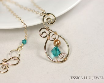 Gold Turquoise Necklace Swarovski Crystal Necklace Swarovski Crystal Jewelry Aqua Necklace Blue Necklace Gold Necklace Gold Jewelry