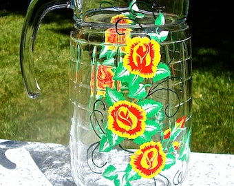 Glass Pitcher Hand Painted Red and Yellow Roses and Green Vines, Housewarming Gift, Home Decor, Wedding Shower Gift, Gifts For Mom