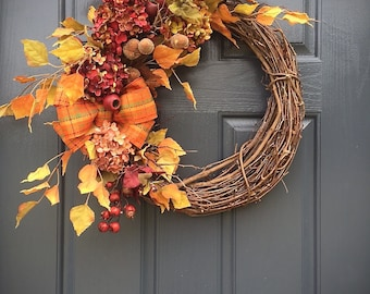 Fall Door Wreaths, Fall Door Decor, Autumn Wreaths, Hydrangea Wreath, Fall Decor, Fall Wreaths