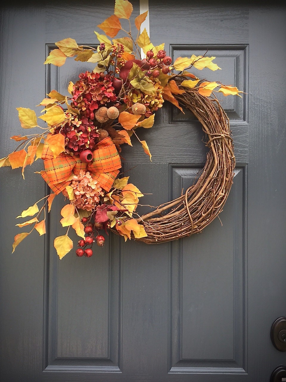Fall Door Wreaths Fall Door Decor Autumn Wreaths Hydrangea: fall autumn door wreaths