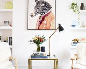 Large Framed Poster, Animal Decor, Zebra Decor, Framed art print, Zebra Illustration, Large Animal Poster, Zebra Wall Art