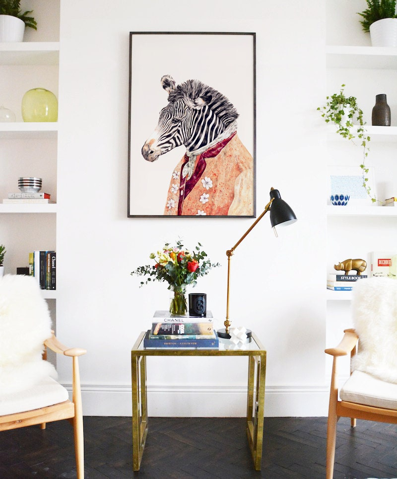 Animal Print Decor: LARGE FRAMED Print Zebra Decor Animal Decor Framed Art