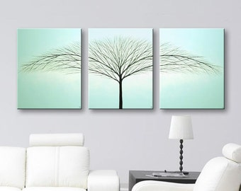 SALE Tree of Life Painting Wall Decor Original Painting Wall Art Large Canvas Art Modern Art Home Decor Robins Egg Blue 54x24