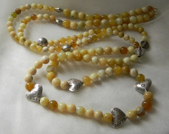 Yellow opal beads w Thai silver beads necklace , beaded jewelry , long strand/ double/ multi strand necklace , opal jewelry , unusual silver