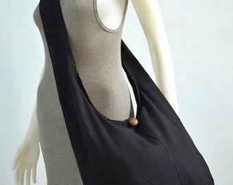 Black Cotton Messenger Bag Shoulder Bag Handbags Hippie Bag Hobo Bag Sling Bag Crossbody Bag Diaper Bag Overnight Purse Tote Bag with Zipper