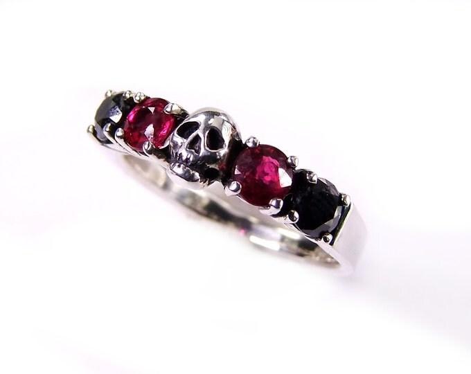 Skull Wedding Ring, Goth Wedding, Black Diamond and Red Ruby Sterling Engagement Ring Psychobilly Wedding Band Wedding Set Slim Ring