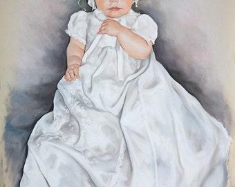 Baby Pastel portrait, Big size portrait