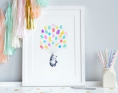 Finger Print, Thumb Balloons, New Baby Picture, Baby Shower Gift, Guest Sign, Maternity Leave, New Mum Gift, Present, Keep sake, Artwork