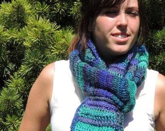 Scarf Crochet, Striped Blue Jewel Tones, Gift Idea, Scarves & Wraps, Fashion Accessory, Handmade