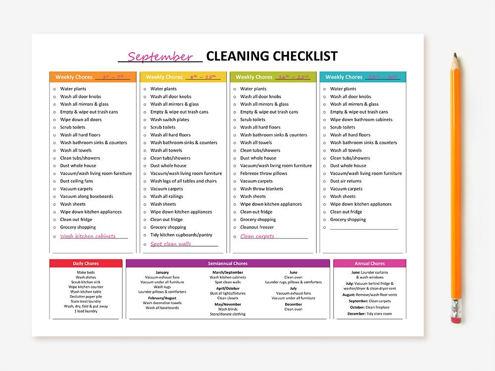 New Printable Monthly Cleaning Checklist