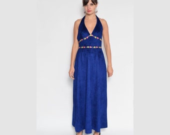 Vintage 70's Blue Velvet Long Halter Dress with Flower Ornaments