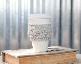 Light Gray Cable Knit Coffee Cozy w/Wood Button/ Tea Cozy/ Cup Cozy/ Coffee Cover/ Coffee Sleeve/ Latte Cozy
