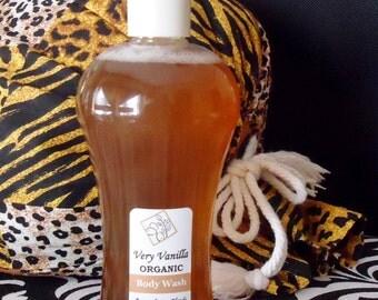Organic, Very Vanilla Body Wash, 8oz size.