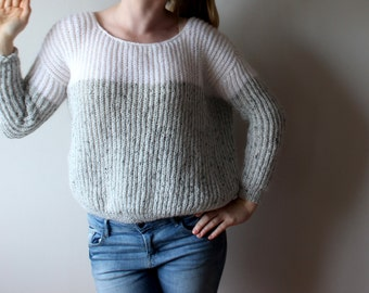 White grey womens jumper, Women jumper, pullover,  grey women sweater, grey white women's pullover