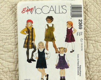 Girls, Jumper, M L, McCalls 2369 Pattern, Princess Seams, Square or Scoop Neck, Inverted Pleats, 1999 Uncut, Size 10 12 14
