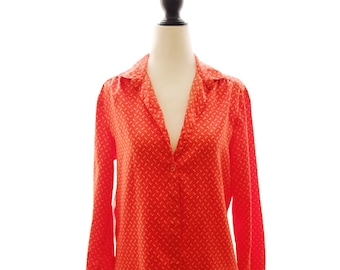 80s Nautical Anchor Pattern Red Coral Shirt Blouse | Small Medium | Vintage