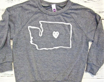 I HEART Washington state baby & toddler long sleeve pullover. I love Wa kids long sleeve shirt. HAND DRAWN.American Apparel. Gender neutral.