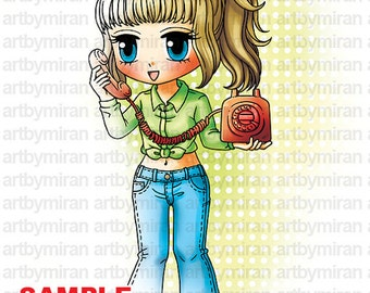 Digital Stamp - Sweet Hello, Digi Stamp, Coloring page, Printable Line art for Card and Craft Supply