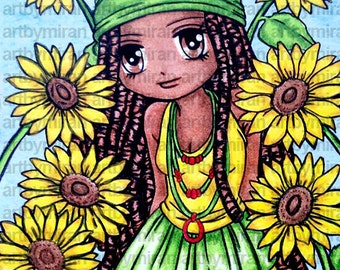 Digital Stamp - Sunny(#233), Digi Stamp, Coloring page, Printable Line art for Card and Craft Supply