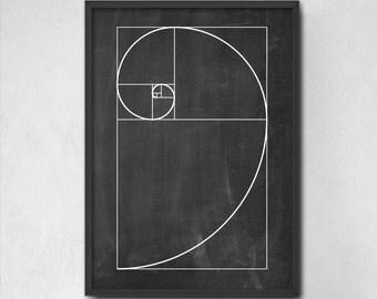 Fibonacci Spiral Wall Art Poster - Mathematics Fibonacci Numbers - Fibonacci Sequence - Golden Ratio Spiral - Mathematics Student Print