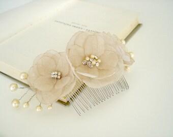 Sale Champagne Flower Bridal  Head Piece, Wedding Hair Comb Vintage, Pearl Crystal Wedding Hairpiece, Hair Pieces, Wedding Hair Accessory