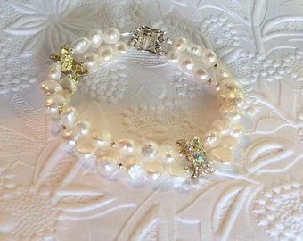 Bridal Pearl Bracelet,Two Strands Natural White Freshwater Pearls,STERLING SILVER Double Clasp,Rhinestone Encrusted Components,Ready to Ship