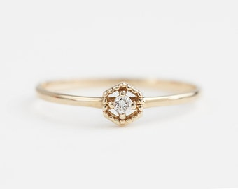 Unique engagement ring, tiny diamond ring, simple diamond stacking ring, hexagon ring, 14k yellow gold, rose gold, white gold, mil-r101-2mm