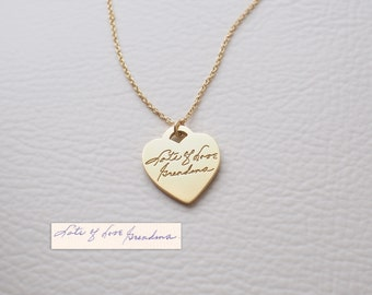 Actual Handwriting Heart Necklace - Personalized Signature Necklace - Memorial Jewelry PN38