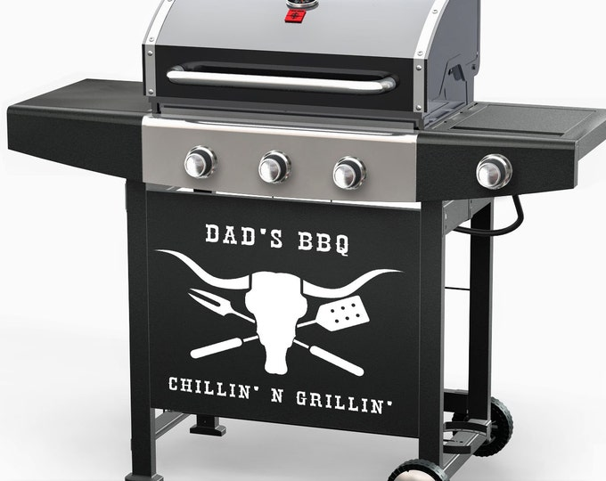 BBQ Decal - Dad's Grill Custom name chillin' and Grillin' Wall art Vinyl sticker mens dad gift longhorn cow skull beef outdooring decor