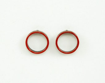 Modern circle stud earrings; enameled in poppy red on copper with sterling silver posts and backs