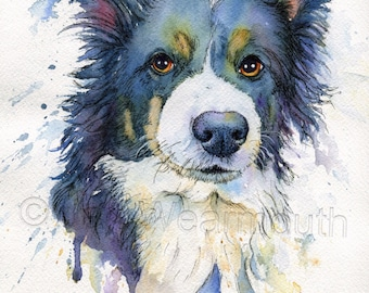 Custom dog portrait, Custom pet portrait in watercolor pen & ink from photographs. Original watercolour art painting. Made to order