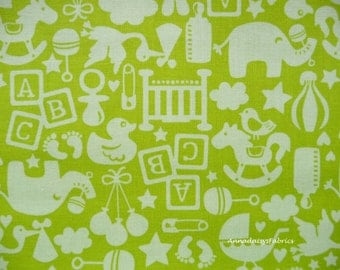 Green Baby Fabric, Maude Asbury Blend Fabrics, Alfie & Bettie Toy Green 101.110.05.3 Baby Quilt Fabric, Lime Green Baby Quilt Fabric, Cotton