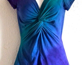 Teal, Blue and Purple Ombre Dyed, Twisted Front Tee, with capped or 3/4 length sleeves