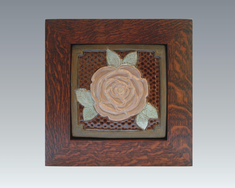 Framed 6 rose tile arts and crafts framed tile wall for Arts and crafts floor tile