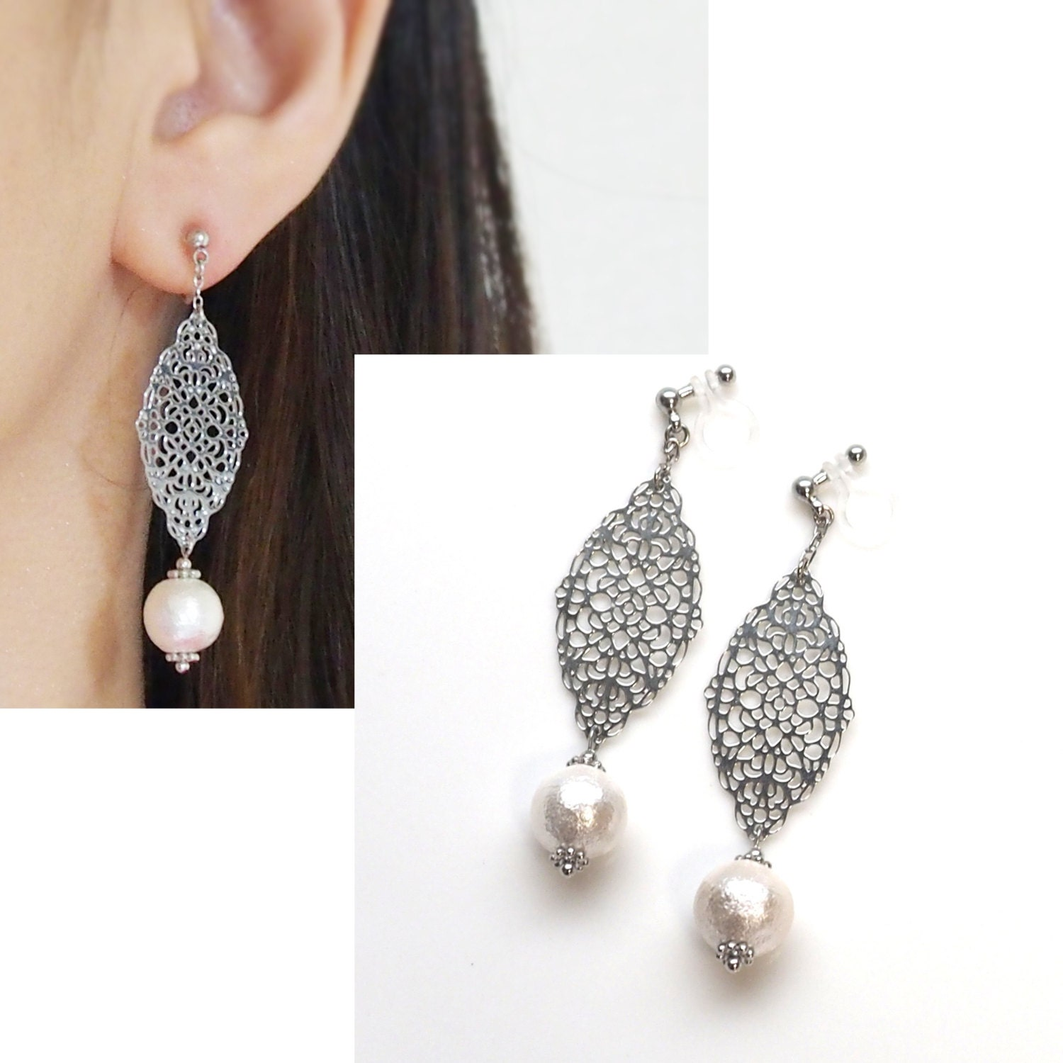 pearl clip on earringssilver clip earrings cotton pearl. Black Bedroom Furniture Sets. Home Design Ideas