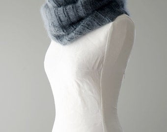 Knitted cowl, knitted silk and mohair cowl, knitted snood in grey colour 'Smoke Icicle'