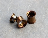 "Pair Bronze Anodize Double Flare Tunnel,Internally Threaded Gauges Plugs,10G,8G,6G,4G,2G,0G,00G,7/16"",1/2"",9/16"",5/8"",3/4"",7/8"",Sold As PAIR"