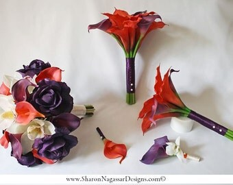 Deep purple, eggplant, plum, ivory, orange bouquet, Real Touch flowers, roses, orchids, calla lilies, Bride and Groom silk wedding set