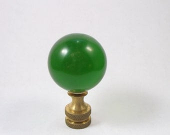 Lamp Finial Vintage Bottle Green Glass Sphere Lamp Finial.(W23)