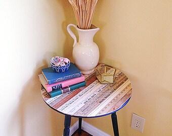 Vintage Rule Black Wood Side Table