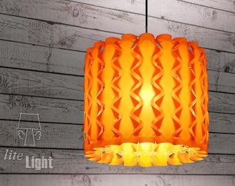 Modern lighting - Pendant lighting - Ceiling light - 60s retro lamp - Rhombus pattern - Sunset orange lamp - Pendant lamp - Ceiling lighting
