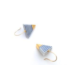 Porcelain ceramic earrings, minimalist jewelry, gold dipped, Blue and white stripes, Triangle earrings, Nautical style, geometric earrings