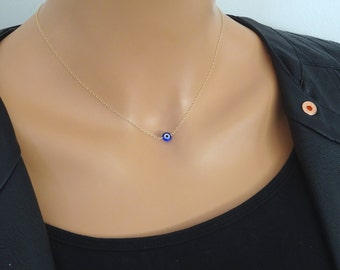 Evil eye necklace, Dainty layering necklace, 14 k gold fill necklace, Rose gold , Sterling silver
