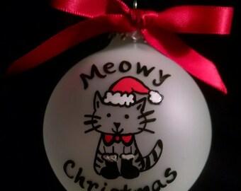 Cat ornament,Cat Christmas ornaments, personalized ornament, pet christmas ornament, lovers,dog, cat, custom, hand painted , cat,dog,