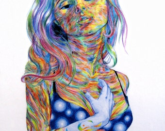 Psychedelic painting Rainbow colouring colored pencil art Colorful drawing Lights art Blue yellow red art Bright color Rainbow drawing