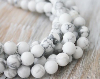 8mm White Howlite Beads Round - Full Strand Genuine Gemstone