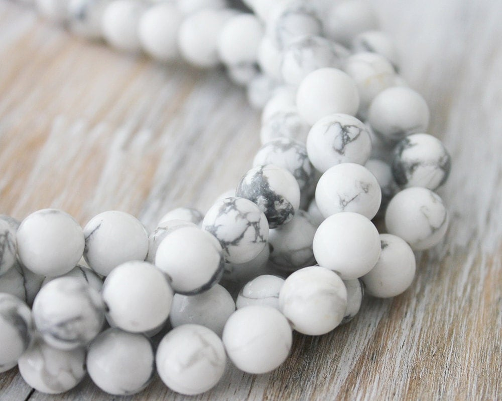 6mm White Howlite Beads Round Full Strand Genuine Gemstone
