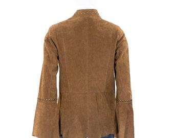 Leather Jacket CARLOS FALCHI Brown Studded Boho Hippie Vintage 70s Bell Sleeve Coat