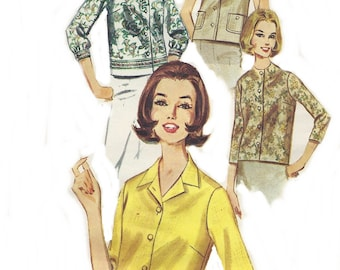 Vintage Blouse Sewing Pattern, 1960s Butterick 2683, Original not a Reproduction, Misses Size 14, Bust 34